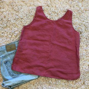 Josephine Chaus Tops - Vintage Pink Linen Tank Top With Side Slits
